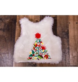 Cotton Kids White Faux Fur Embroidered Christmas Vest