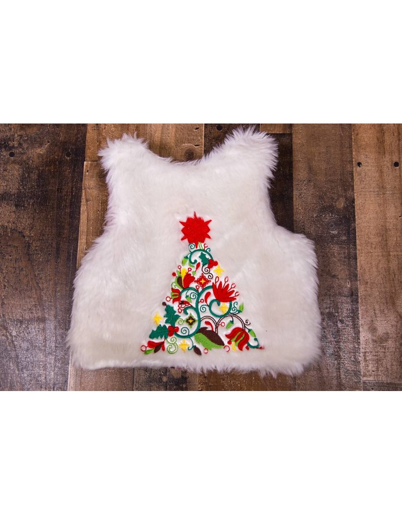 Christmas Vest.White Faux Fur Embroidered Christmas Vest