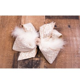 Beyond Creations Layered Lace Feathered Bow