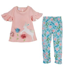 Mud Pie Bunny Tunic and Floral Legging Set