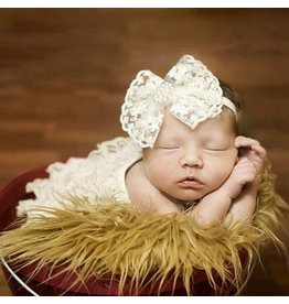 Ivory and Lace Pearl Bow Headband