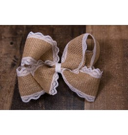 My Little Lady Bug White Lace Burlap Mega Bow