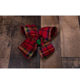 My Little Lady Bug Christmas plaid bow
