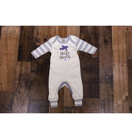 Tesa Babe Ivory & Grey Striped Hello World Romper