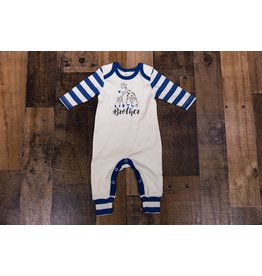 Tesa Babe Ivory & Blue Striped Little Brother Romper