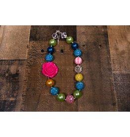 Rainbow Flower Chunky Necklace