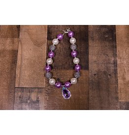 Pearl And Purple Jewel Chunky Necklace