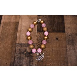 Pink And Gold Crown Chunky Necklace