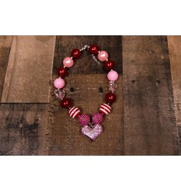 Red, Pink Striped Heart Chunky Necklace