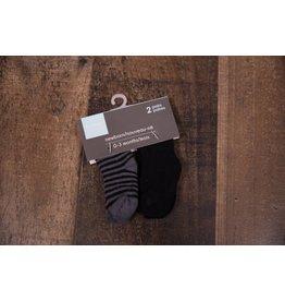 Terry Socks - Black Solid/Charcoal Stripe
