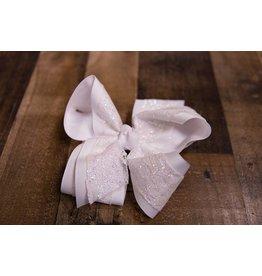 Beyond Creations XXXXL White Glitter Lace Bow