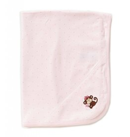 Little Me Pink Spotted Monkey Blanket