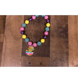 Blue Pink and Yellow Chick Chunky Necklace