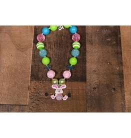 Pink Bunny Pendant with Pink, Blue and Green Chunky Necklace