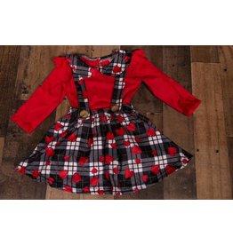 I Heart You Plaid Suspender Skirt Set