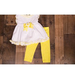 Rare Editions White And Yellow Tunic And Legging Set