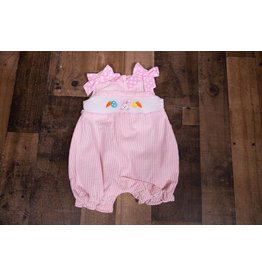 Rare Editions Light Pink Stripe Seersucker Smocked Bunny Bubble