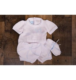 Will'beth Blue and White Knit Bubble 4pc Set
