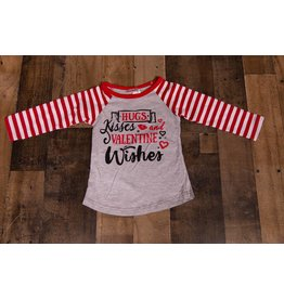 Hugs Kisses and Valentines Wishes Raglan