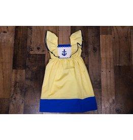 Mom & Me Yellow/White Checkered Anchor Dress