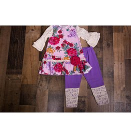 Sassy Me Purple Floral Tunic 2 Piece Set