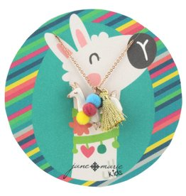 "Jane Marie 14"" Llama With Poms and Tassel Necklace"