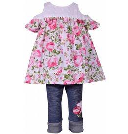 Bonnie Jean Floral Lace Cold Shoulder 2pc Pant Set