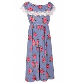 Bonnie Jean Blue/White Striped Romper Dress with Flowers