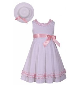 Bonnie Jean Bunched Ruffle Silk Bow Dress with Hat