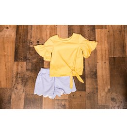 Mabel and Honey Yellow with Blue/White Stripped Shorts 2pc Set