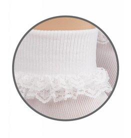 Jefferies Socks White Small Double Lace Socks