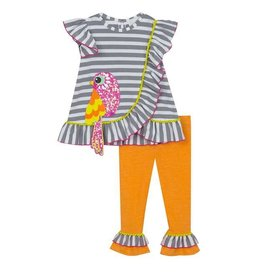 Rare Editions Gray/White Striped & Orange w/ Pink Bird 2pc Set