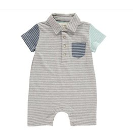 Me + Henry Grey Multi Blue Striped Polo Romper