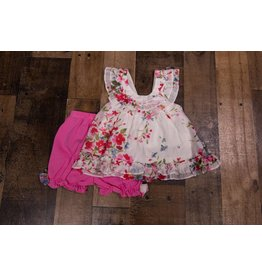 Isobella & Chloe White Floral with Pink Pants 2pc Set