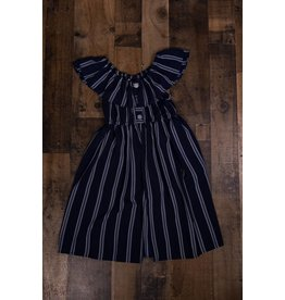 Bonnie Jean Navy and White Striped Shorts Romper