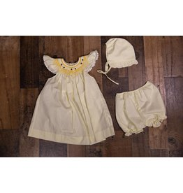 Mom & Me Smocked Yellow Dress with Bonnet