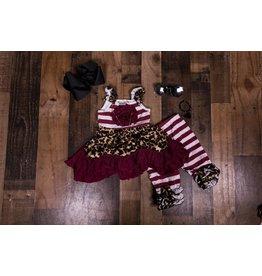 Cheetah and Maroon Legging Set