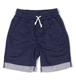 Kapital K Indigo Denim Knit Roll-Up Pull-On Shorts