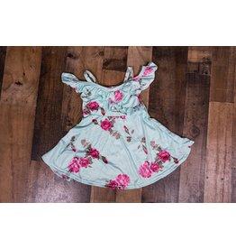 Aqua Rose Cold Shoulder Dress