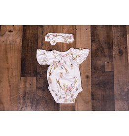Floral Skull And Teepee Bodysuit With Headband