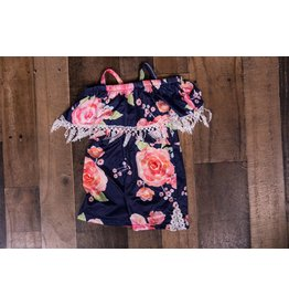 Blue, Pink And Coral Floral Romper