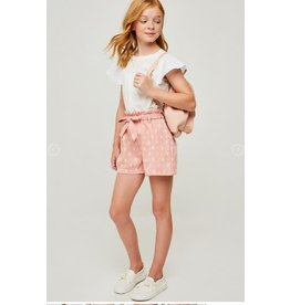 Hayden Indian Pink Printed Paperbag Tie Short