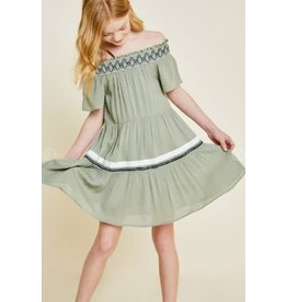 Hayden Olive Off-Shoulder Tiered Swing Dress