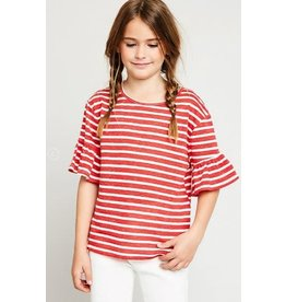 Hayden Red/White Stripe Ruffle Sleeve Tee