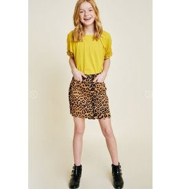 Hayden Leopard Print Faux Suede Skirt