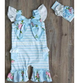 Serendipity Clothing Co Vintage Rose Flutter Bow Shortall Set