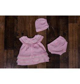 Will'beth Pink Knit Dress 3pc Set