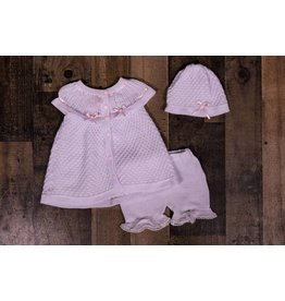 Will'beth White/Pink Button Down Knit Dress 3pc Set