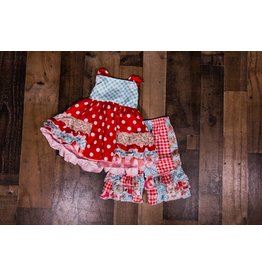 SJ's Summer Picnic Red and Blue Ruffle Short Set