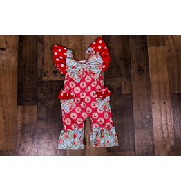 SJ's Summer Picnic Red and Blue Ruffle Romper